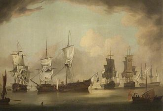 History of the Isle of Man - The scene in Ramsey Bay after the Battle of Bishops Court between the English and French squadrons, enacted off the Manx coast in 1760