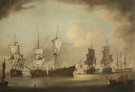 The scene in Ramsey Bay after the Battle of Bishops Court between the English and French squadrons, enacted off the Manx coast in 1760 Iom mnh 1954 7451 large.jpg