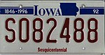 Iowa 1992 Sesquicentennial license plate - S082488.jpg