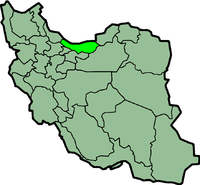 Map of Iran with माज़ंदरान highlighted.