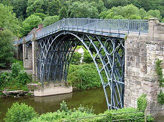 Industrial Revolution - The Iron Bridge, Shropshire, England, the world's first bridge constructed of iron opened in 1781.