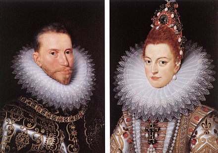 Albert and Isabella Clara Eugenia, by an anonymous 17th century master, after originals by Frans Pourbus the younger. Isabella Clara Eugenia Spain Albrecht.jpg