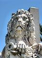J. Lacmer's lion sits atop the grave of General Robert Patterson, Laurel Hill Cemetery.jpg