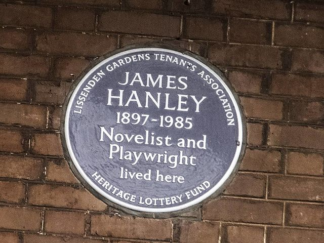 James Hanley brown plaque - James Hanley  1897–1985  Novelist and  Playwright  lived here
