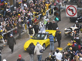 Grant Street - James Harrison in the post Super Bowl XLIII victory parade down Grant Street.