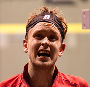 James Willstrop - James Willstrop reacts during the 2009 Kuwait Open semi-finals.