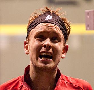 James Willstrop - James Willstrop reacts during the 2009 Kuwait Open semi-finals.
