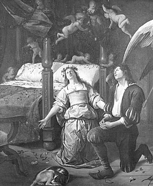Tobias and Sarah in Prayer with the Angel Raphael and the Demon - Image: Jan Steen Tobias and Sarah Praying before their Marriage Bed (fragment) NK2726