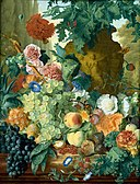Jan van Huysum - Fruit and Flowers in front of a Garden Vase with an Opium Poppy and a Row of Cypresses 1731-2.jpg