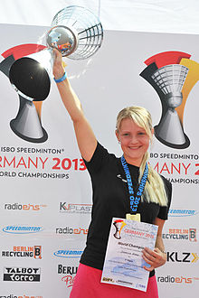 Jasmina Keber winning the speed badminton World Championships 2013.jpg