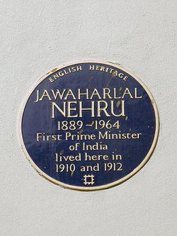 Jawaharlal nehru blue plaque