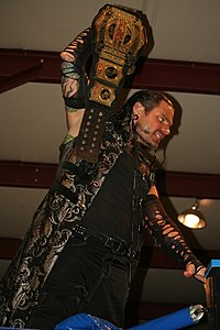 Jeff Hardy as Brother Nero in January 2017 posing as one-half of the TNA World Tag Team Champions.jpg