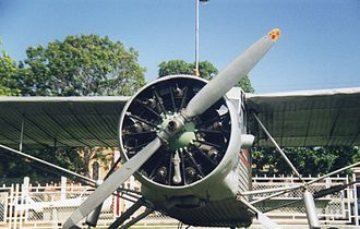 Jimmie Angel - Jimmie Angel's aircraft, El Rio Caroní, exhibited in front of Ciudad Bolívar airport (front view)