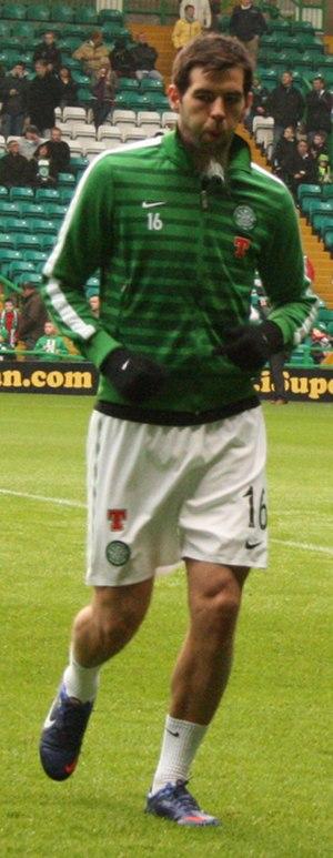 Joe Ledley - Ledley training ahead of the match between Celtic F.C and ICT on 11/02/2012.