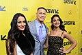 John Cena, Nikki Bella and Geraldine Viswanathan at SXSW Red Carpet premiere of BLOCKERS (26876927368).jpg