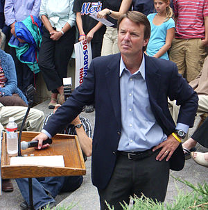 John Edwards listening to a question at a camp...