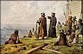 Josef Mathauser - Jan Žižka s knězem Václavem Korandou roku 1420 hledí s Vítkova na Prahu.jpg