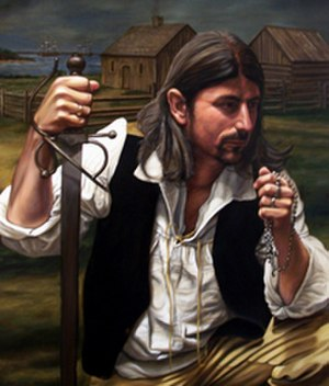 "Joseph Broussard - Joseph Broussard, known as ""Beausoleil"". A portrait by Herb Roe."