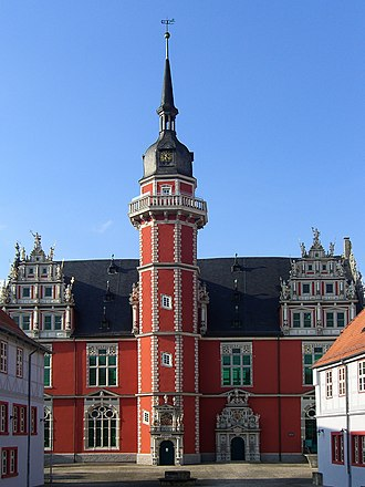 Weser Renaissance - The Juleum in Helmstedt, a major example of the Weser Renaissance style. Historical great auditorium of the University, built in 1592.