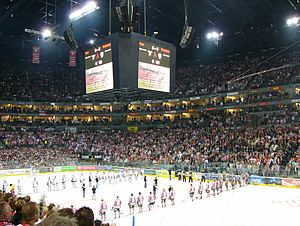 Kölner Haie - Pregame festivities at Game 4 of the 2007/08 German Championship final between the Haie and Eisbären Berlin.