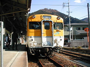 Kabe Line - a train for non-electrified section at Kake Station