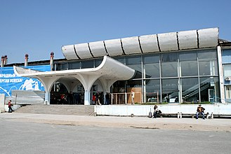 Khrabrovo Airport - Airport's terminal entrance being partially demolished and reconstructed
