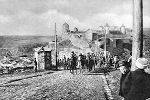 Treaty of Brest-Litovsk (Ukraine–Central Powers) - Austro-Hungarian troops enter Kamianets-Podilskyi after the treaty had been signed in Brest-Litovsk. (Austria-Hungary War Press bureau)
