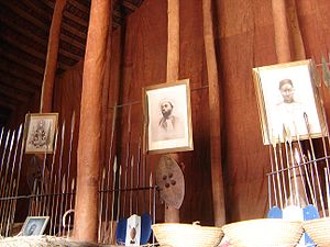 Kasubi Tombs - The interior of the Muzibu Azaala Mpanga in 2007, included relics and portraits of the buried kabakas