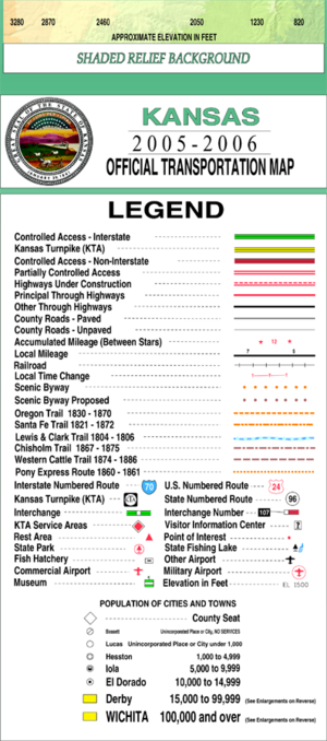 Russell County, Kansas - Image: Kansas official transportation map legend