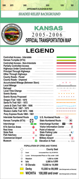 Ellsworth County, Kansas - Image: Kansas official transportation map legend