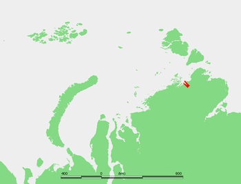 English: Location of the Taymyr Gulf in the Ka...