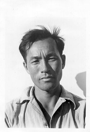 Karl Yoneda - At Manzanar internment camp, 1942  (Photo: Dorothea Lange)