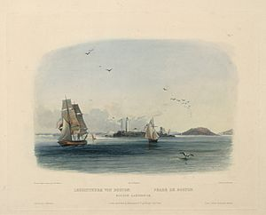 Boston Light - Boston Lighthouse (Leuchtthurn von Boston; Phare de Boston) by Karl Bodmer, 1839