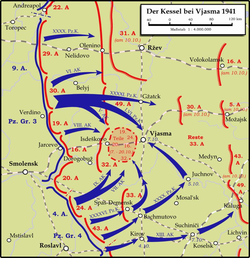 Karte - Kesselschlacht bei Vjasma 1941