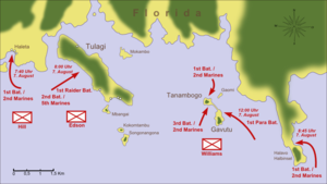 Battle of Tulagi and Gavutu–Tanambogo - Routes of Allied amphibious forces for landings on Florida, Tulagi, and Gavutu–Tanambogo, 7 August 1942
