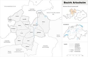 Arlesheim District - Image: Karte Bezirk Arlesheim 2007