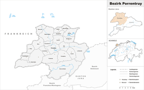 Karte von Bezirk Pruntrut(frz.: District de Porrentruy)