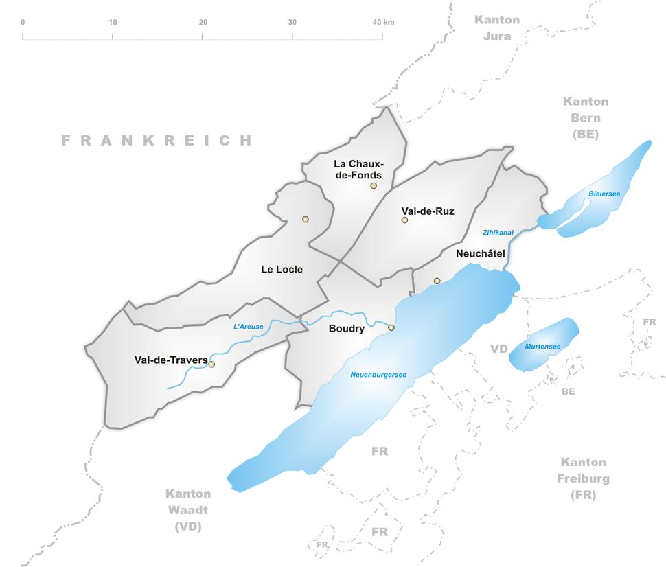 Karte Kanton Neuenburg Bezirke