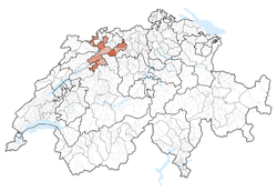 Map of Switzerland, location of کانتون سولوتورن highlighted