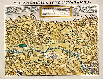 Coat of arms of Valais - Image: Karte Wallis 1545