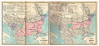 Treaty of San Stefano - Maps of the region after the Treaty of San Stefano and the Congress of Berlin of 1878