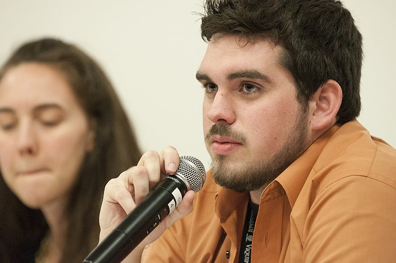 Kasey Baker speaking at student panel at Wikipedia in Higher Education Summit.jpg