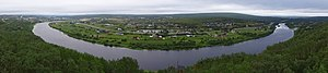 Altaelva - Panorama of Kautokeino river as seen from the ski jump hill south of the town center in Kautokeino.