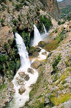 Kayseri Province - Waterfalls erupting from a cliff below Aladağlar.