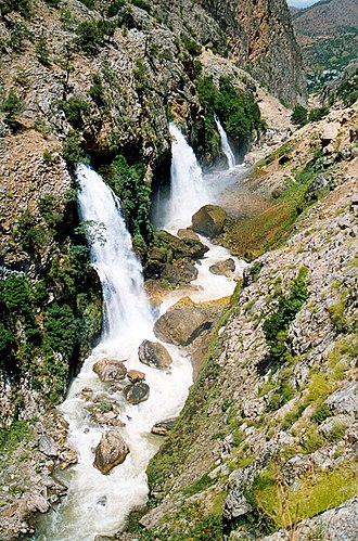 Kayseri Province - Waterfalls erupting from a cliff below Aladağlar.