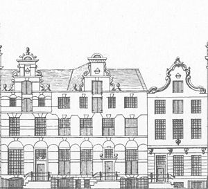 Gerrit Reynst - The house, where Reynst lived, known as Hope, was a copy of the house in the middle. The two houses shown here on Keizersgracht were called Belief and Love. Engraving around 1770 by Caspar Phillips