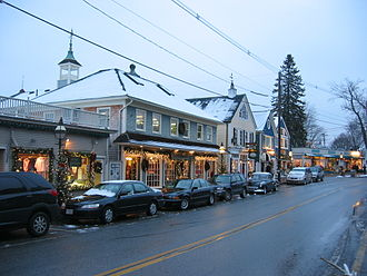Kennebunkport, Maine - Downtown during the Christmas season, looking towards Dock Square
