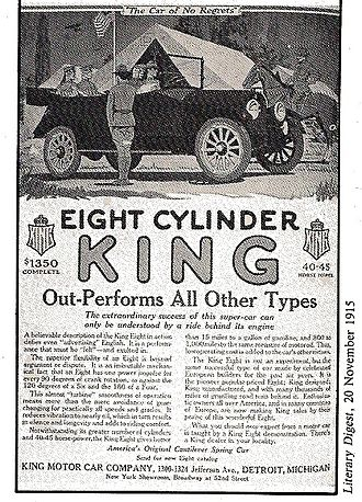 Charles Brady King - 1915 King automobile advertisement