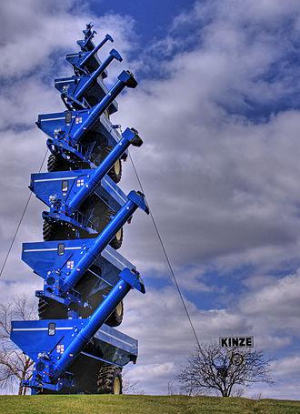 Interstate 80 in Iowa - Image: Kinze grain auger carts sculpture, Williamsburg, Iowa