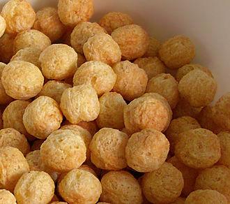 Kix (cereal) - Honey Kix, enlarged to show texture.